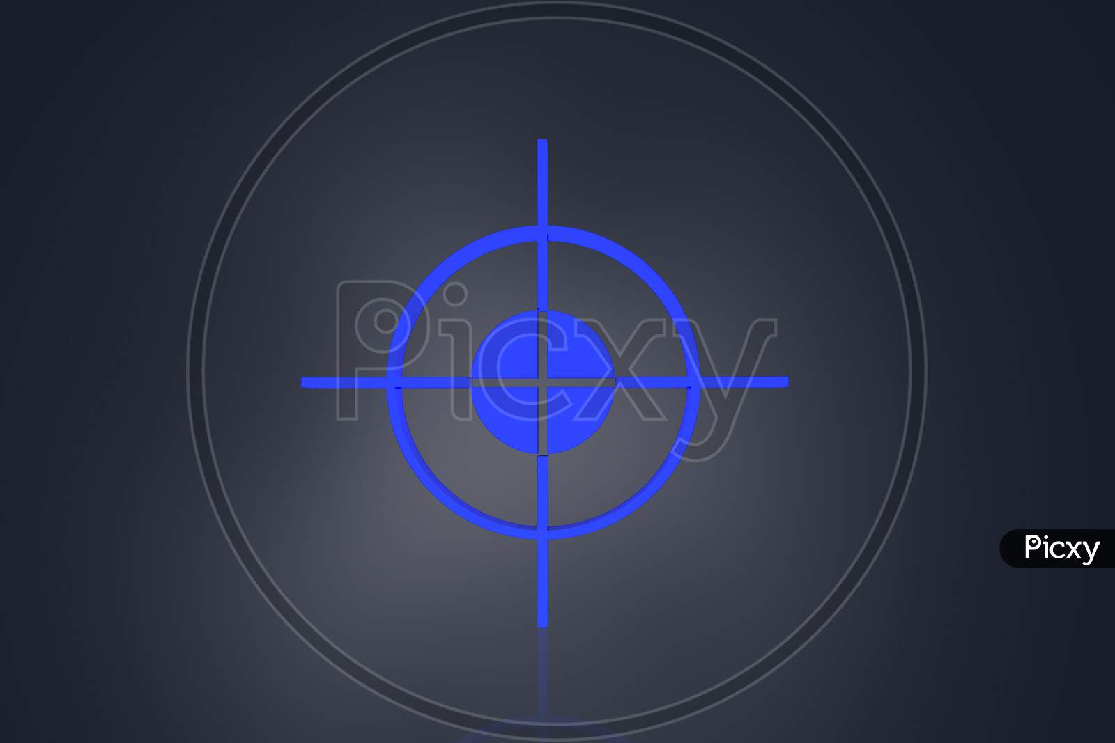 Highly 3D  Rendering Focus Symbol In Color Background