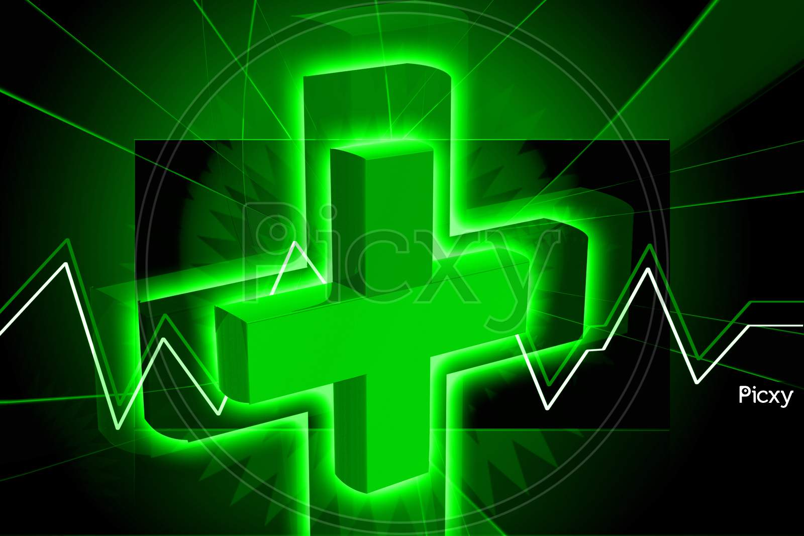 Digital Illustration Of Clinical Symbol In Color Background
