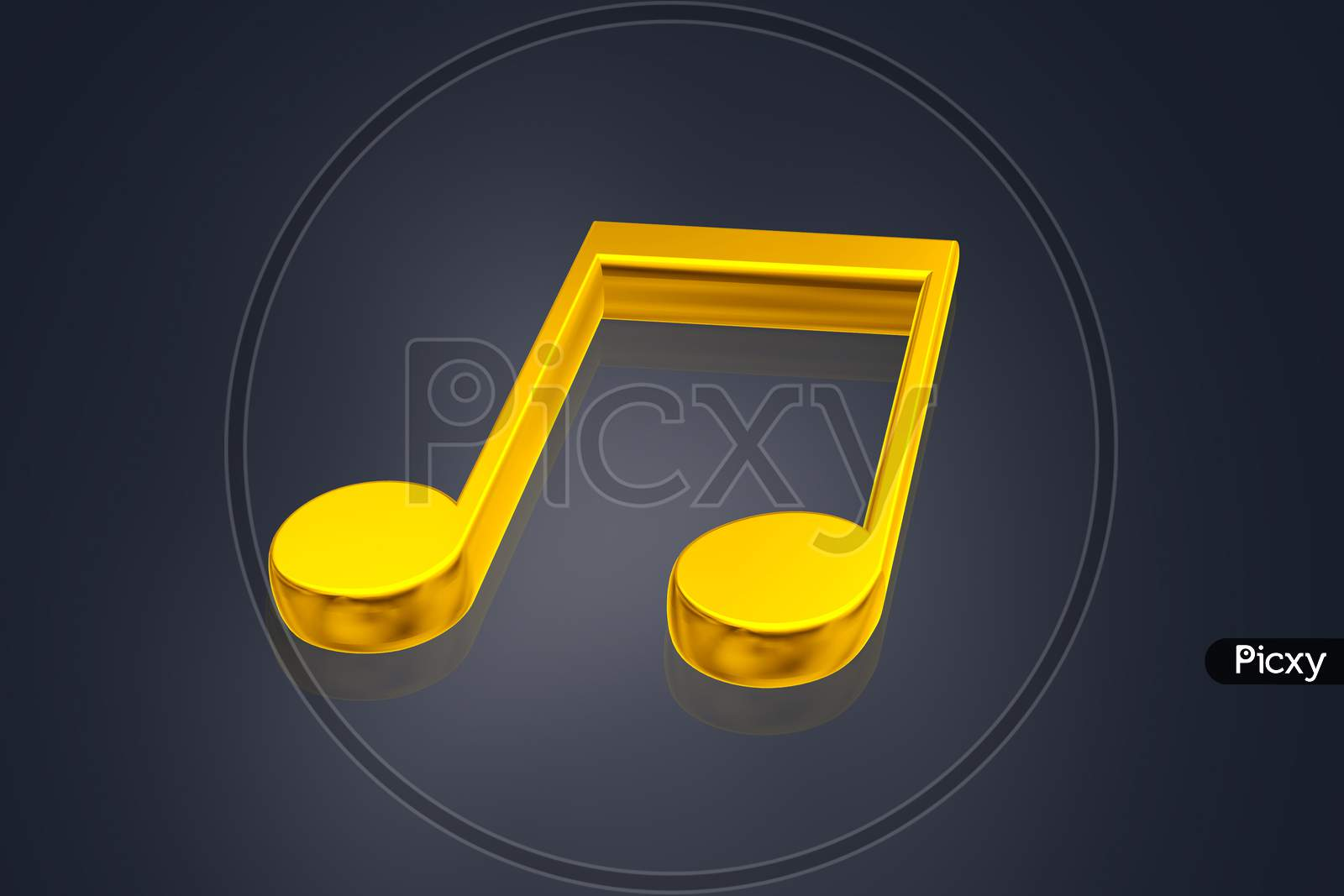 Highly 3D  Rendering Music Symbol In Color Background