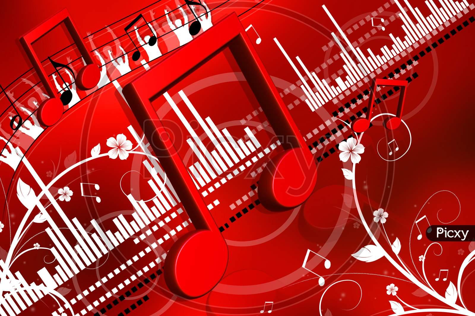 Digital Illustration Of Musical Symbol In Color Background