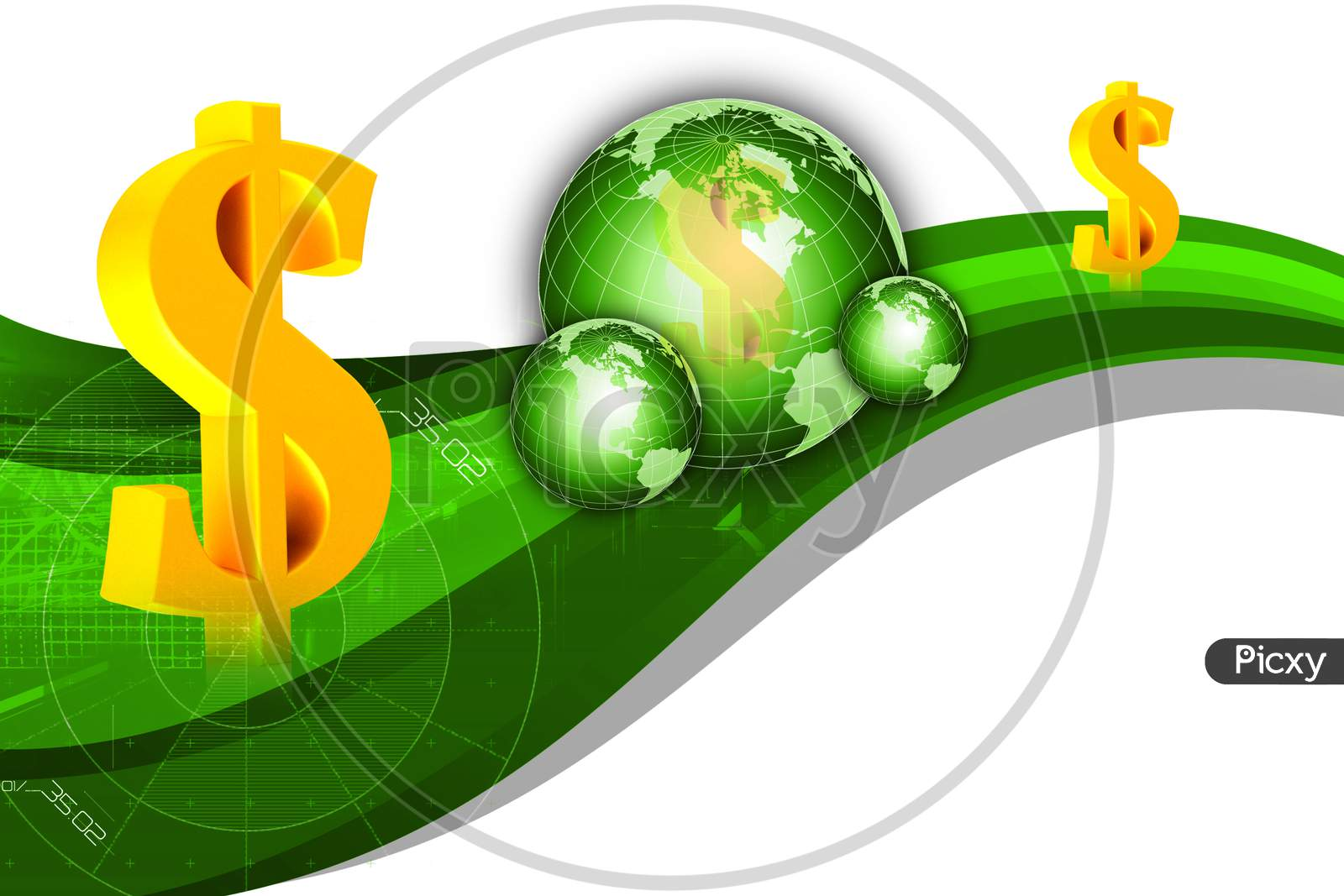 High Quality 3D Rendering Of Earth And Dollar Sign In White Background
