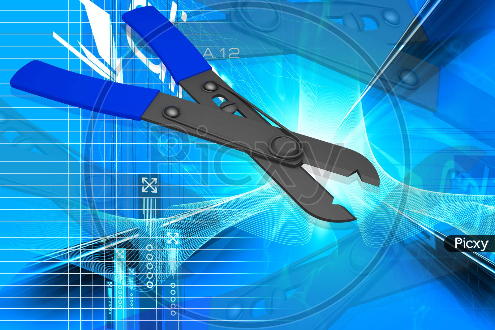 3D Illustration Of Wire Cutter In Color Background