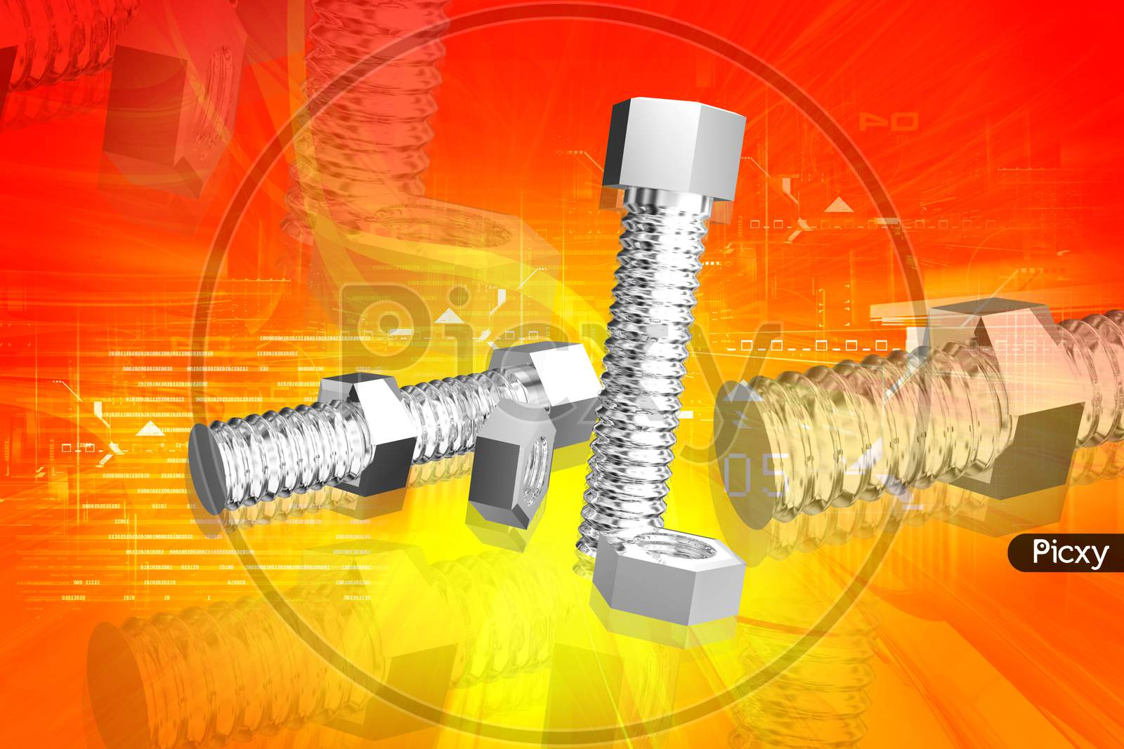 3D Illustration Of Nut And Bolt In Color Background