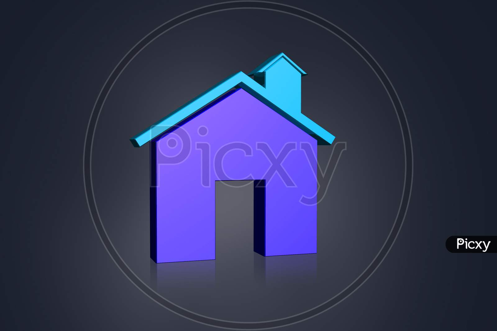 3D Multi-Use Real Estate  Symbol In Color Background