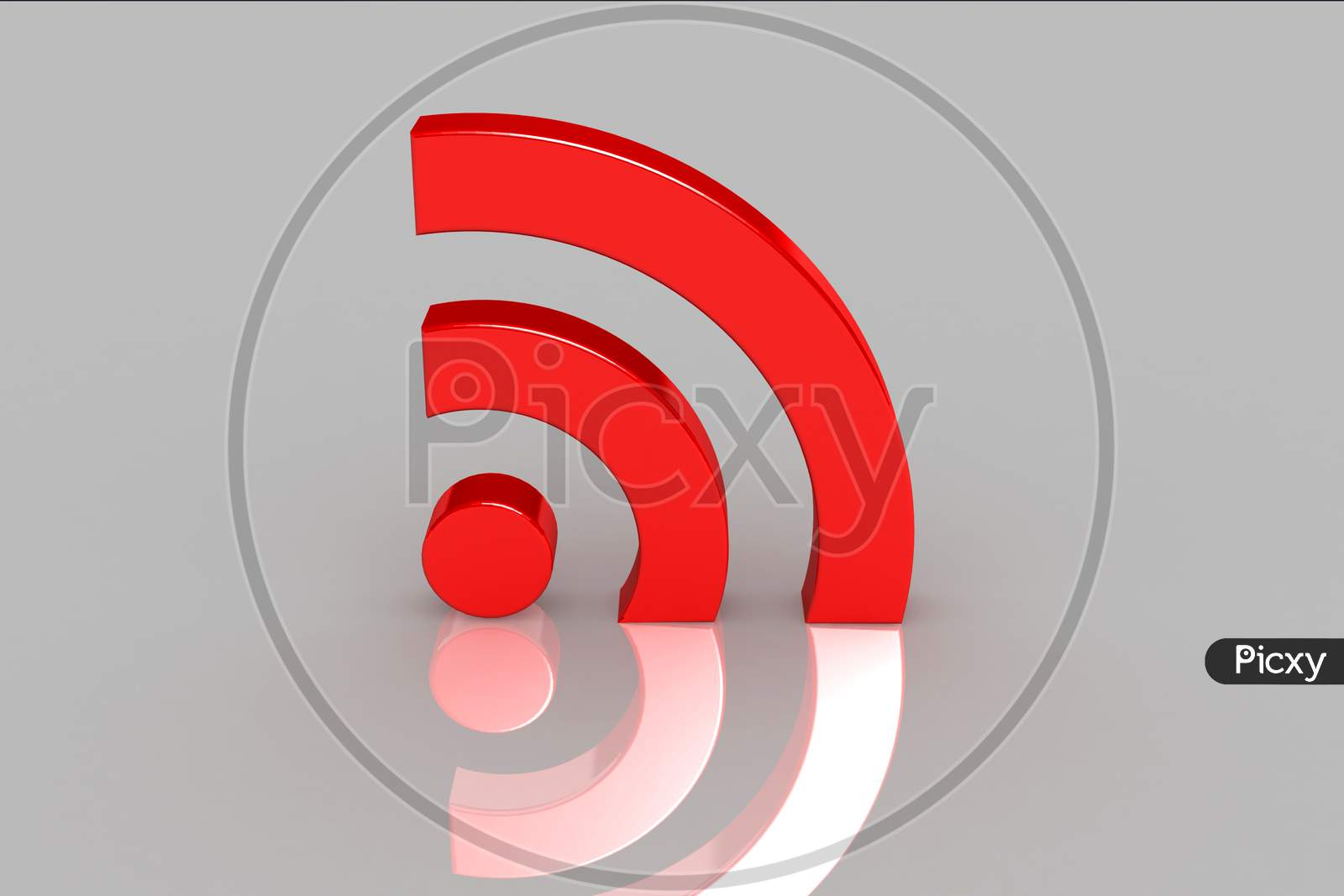 3D Multi-Use Real Wifi Symbol In Color Background