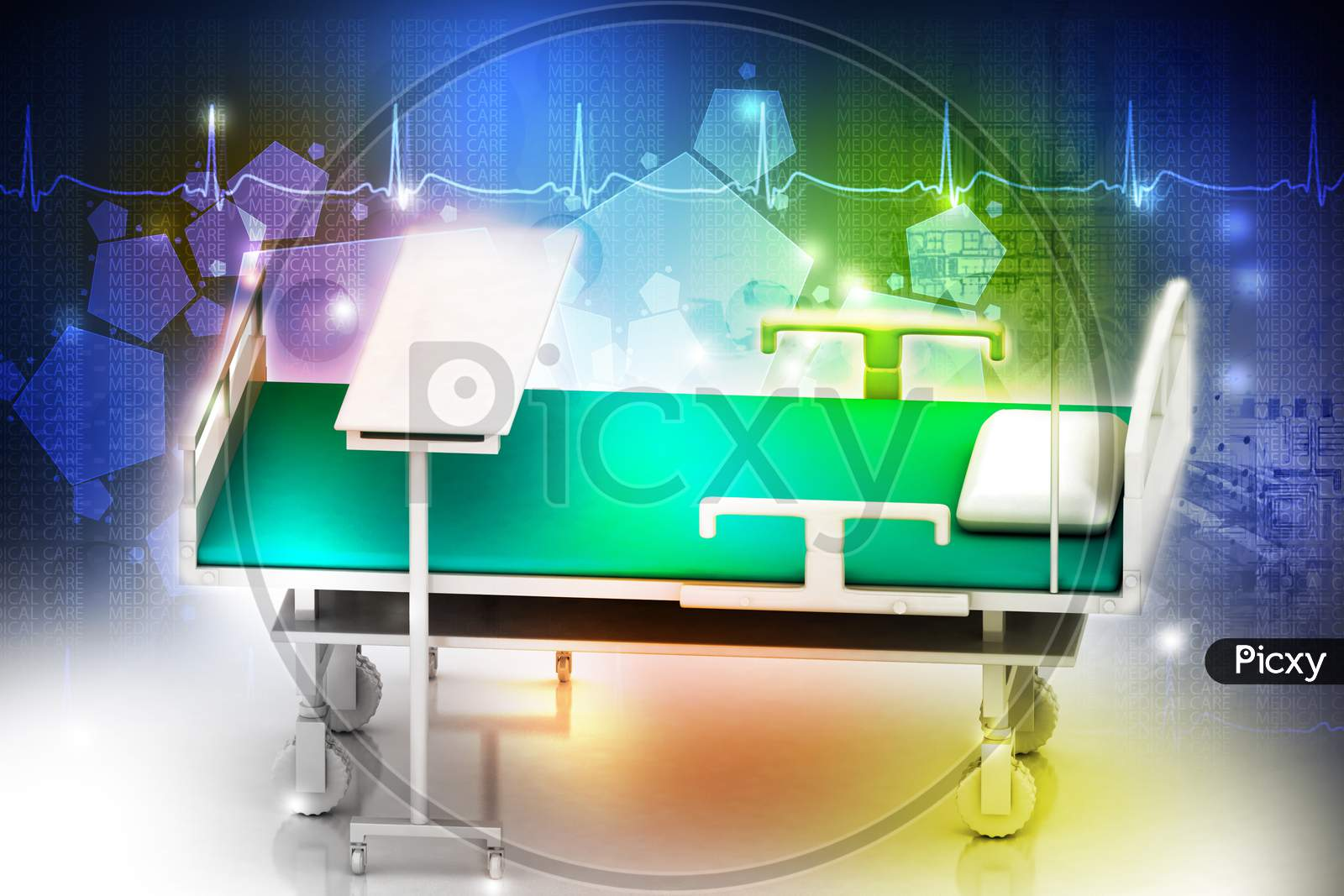 3D Multi Use Hospital Bed In Abstract White Background