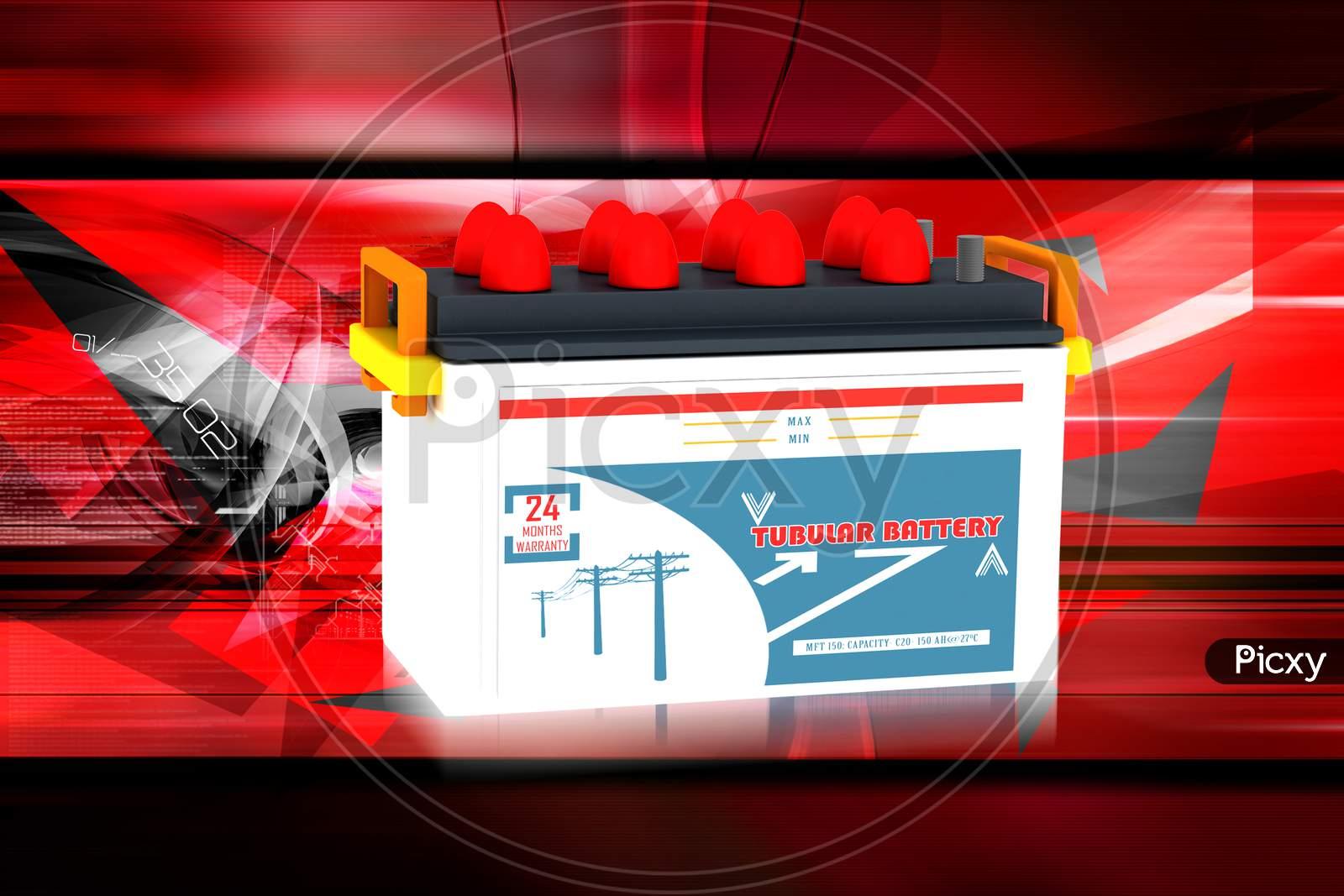 Digital Illustration Of Car Battery In Color Background