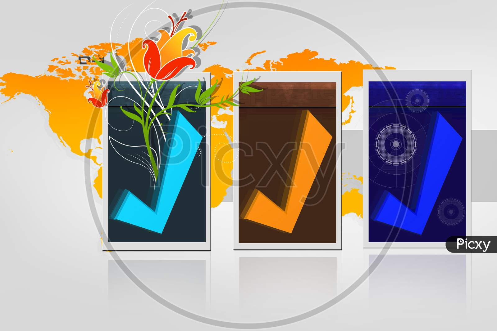 3D Rendering Right Symbol In Digital Color Background