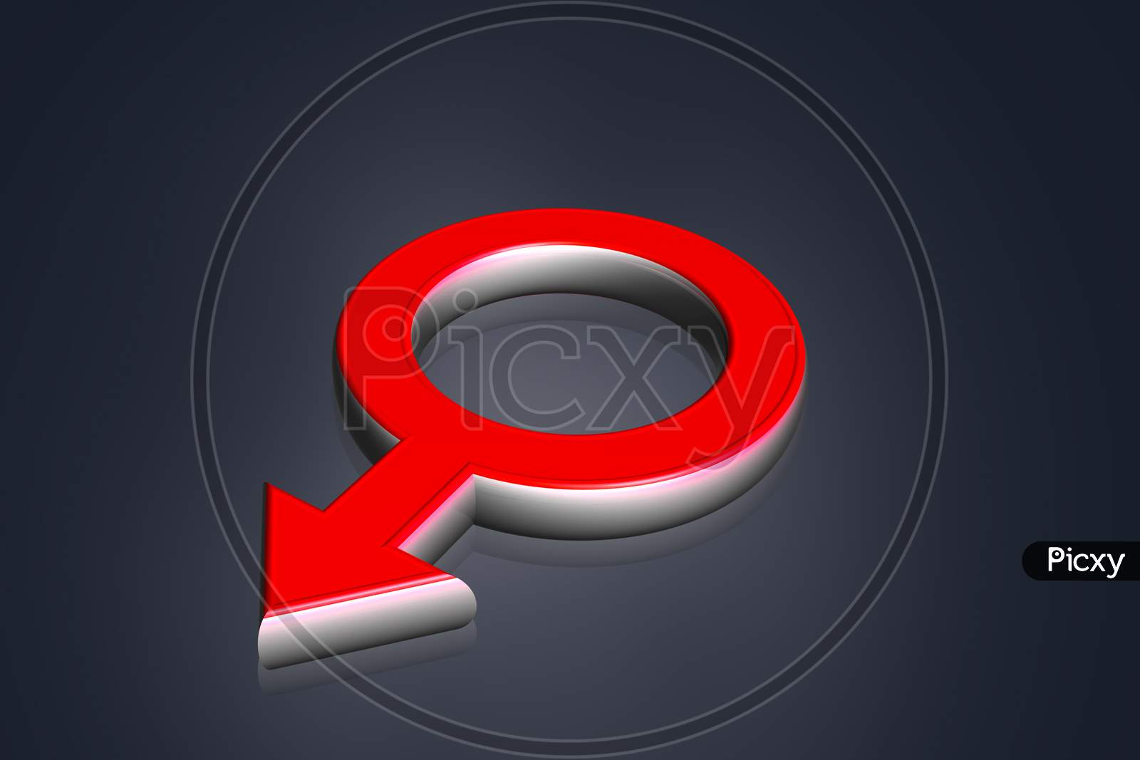 High Quality Rendering Of 3D Male Symbol In Color Background