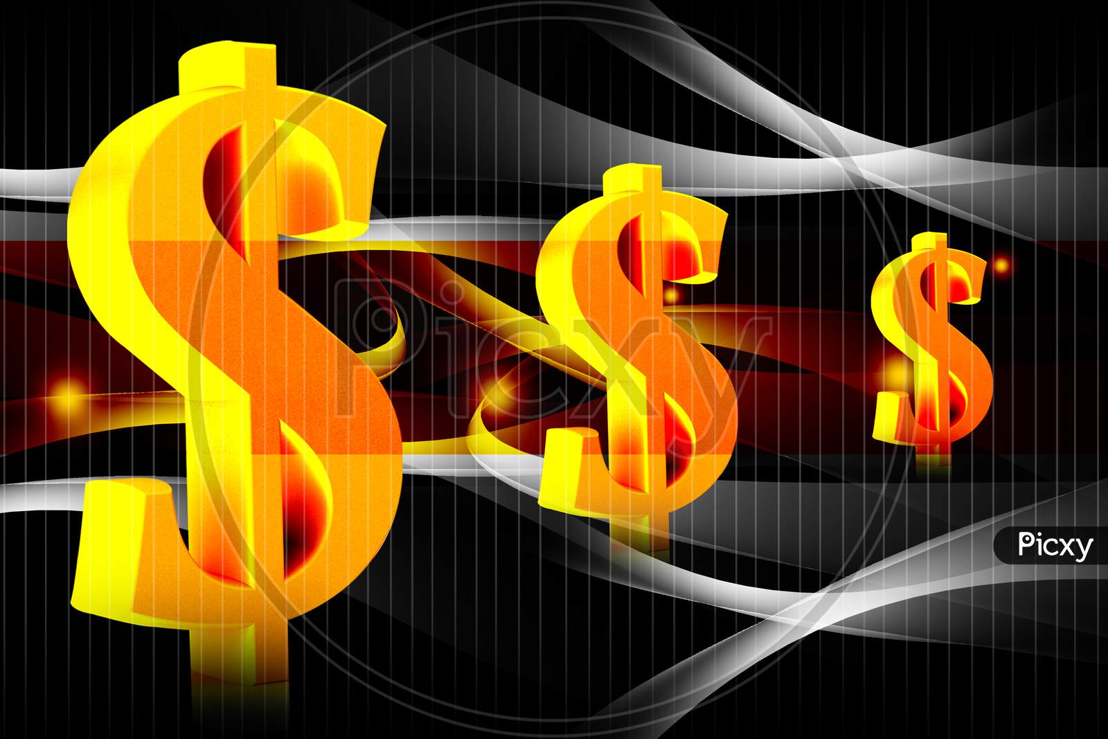 3D Illustration Of Dollar Sign In Colour Background