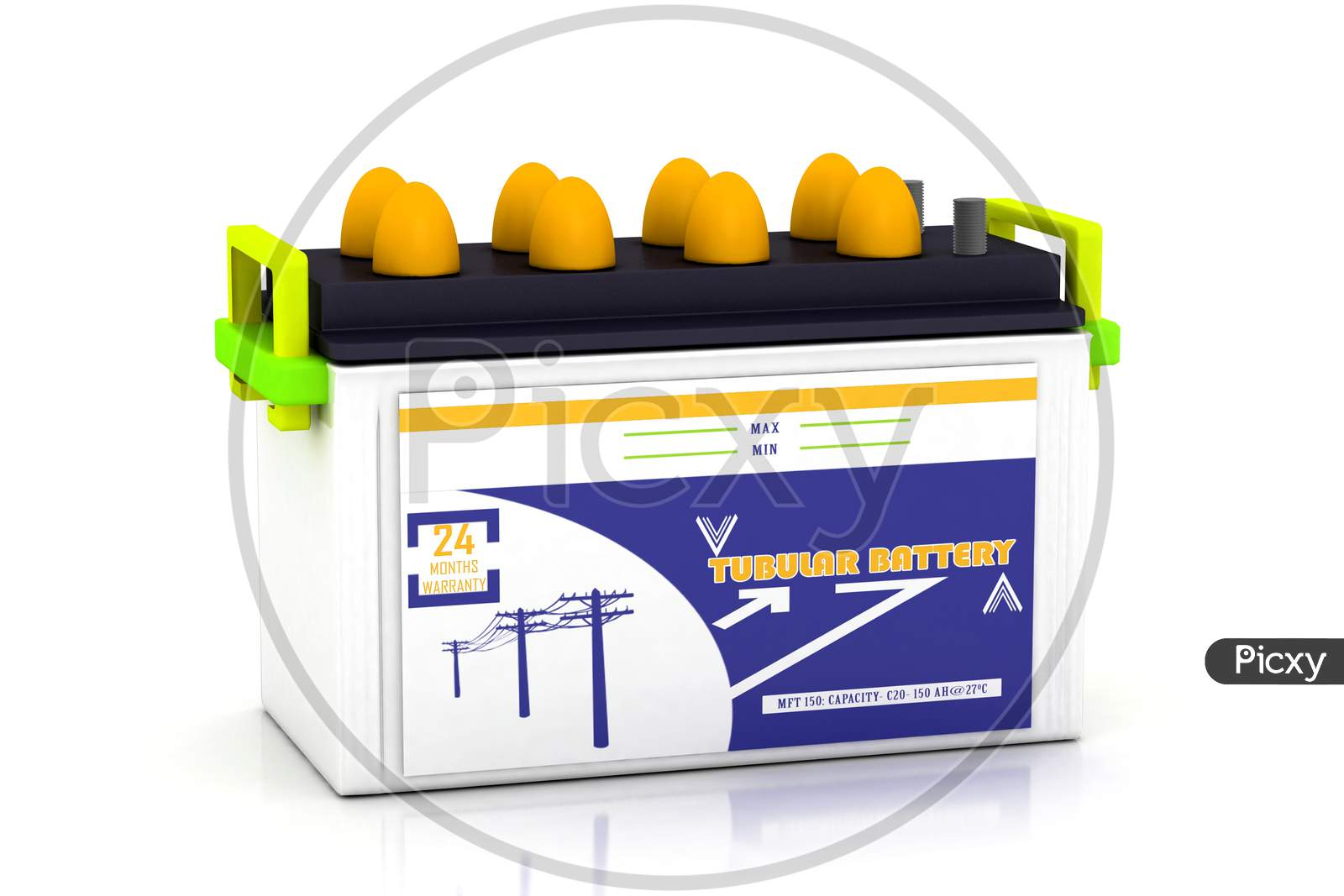 3D Rendering Of Multi Use Car Battery In White Background