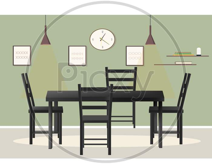 Mock Up Illustration Of A Dining Table In A Room