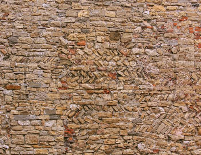 Red Brick And Stone Wall Texture And Pattern