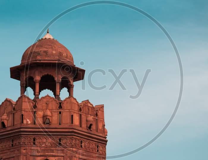 India Travel Tourism Background - Dome, Red Fort (Lal Qila) Delhi - World Heritage Site. Delhi, India