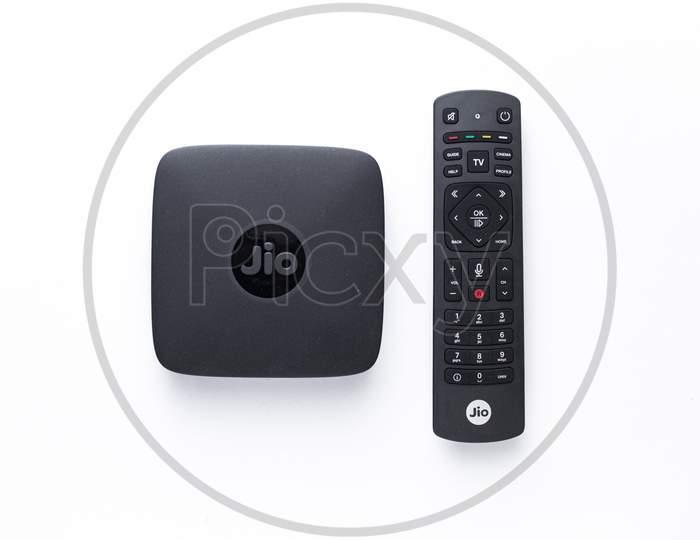 Assam, india - April 28, 2020 : Jio fibre/tv set top box 4k.