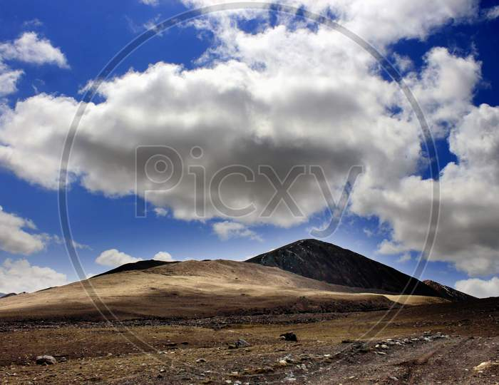 Mountains of Sikkim with Blue Sky and Huge Clouds