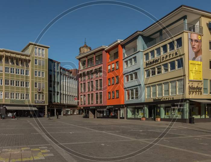 Stuttgart,Germany - February 24,2019:Rathausplatz This Place In The Center Of The City And There Are Many Shops In Old Buildings Around.