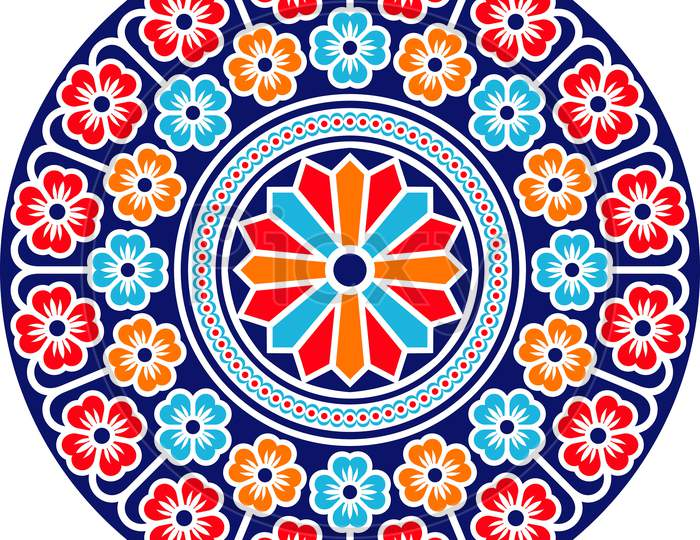 Colorful Abstract Rangoli Round Design.