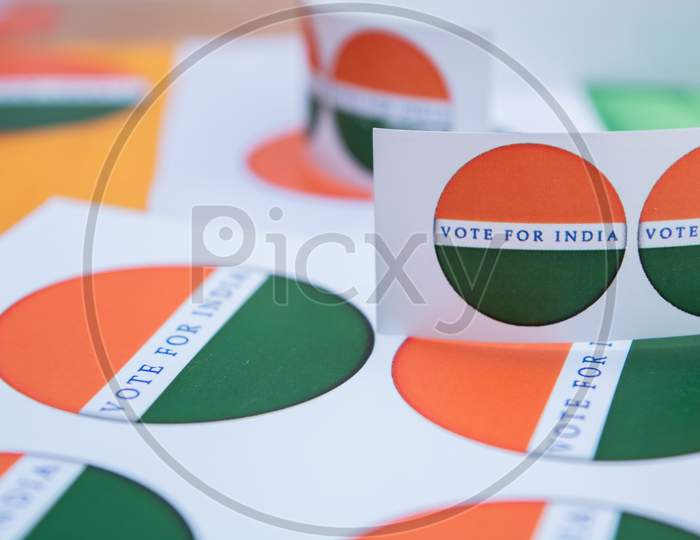 Concept Of Indian Election, Stickers Showing Vote For Better India.