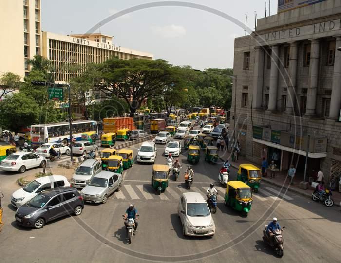 Bangalore, Karnataka India-June 04 2019 :Aerial View Of Bengaluru City Traffic Near Town Hall, Bengaluru, India.