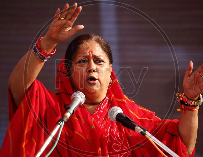 Vasundhara Raje, Former Chief Minister Of Rajasthan State And current National Vice President of Bhartiya Janta Party (BJP) addressing in a public event before General Elections in Rajasthan, Bhilwara, December, 2018.