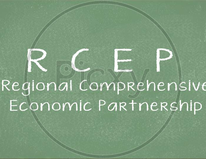 Conceptual Business Trade Illustration With The Words Rcep Or Regional Comprehensive Economic Partnership.