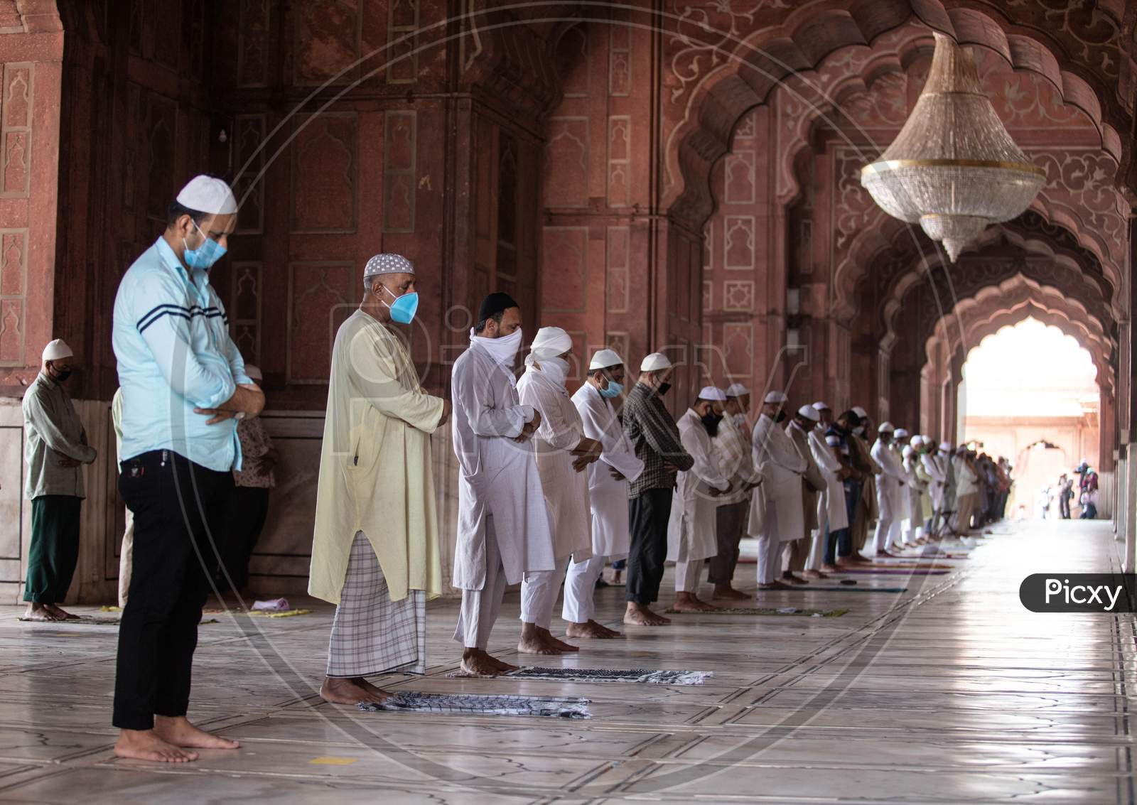 Muslims offers prayer Inside Jama Masjid After The Opening Of Most Of The Religious Places As India Eases Lockdown Restrictions That Were Imposed To Slow The Spread Of The Coronavirus Disease (Covid-19), In The Old Quarters Of Delhi, India, June 8, 2020.