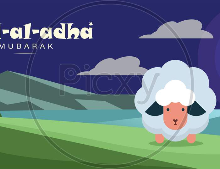 Eid Al Adha Mubarak, Goat And Ladscape Illustration Greeting Wish Poster, Card, Vector Illustration