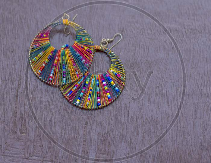 Rainbow Color Ear Ring With Beautiful Design