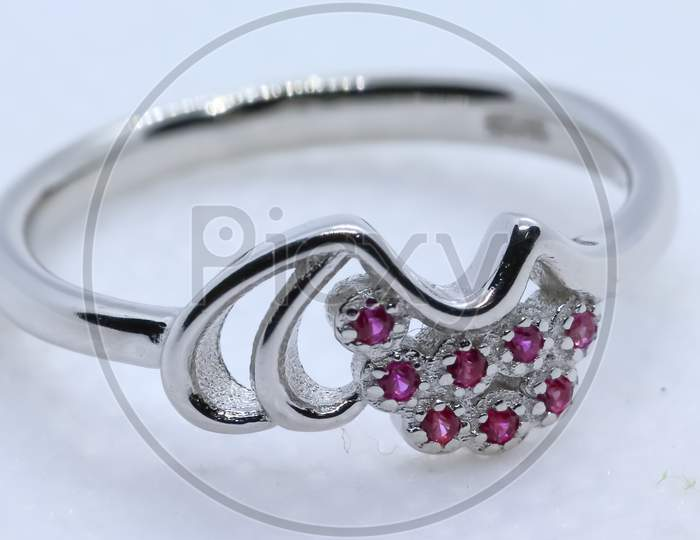 Pink Stone Silver Ring With White Background