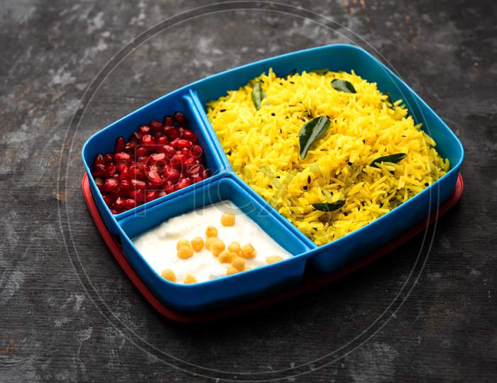 Lunch Box / Tiffin for Indian kids, contains lemon rice, nahi-boondi and pomegranate or Anar. selective focus