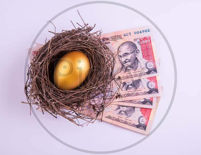 A golden egg sitting in a nest kept over indian currency notes
