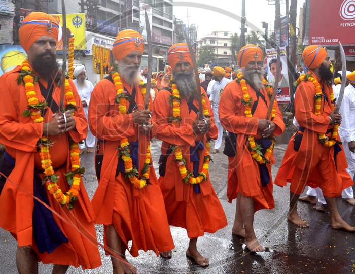 Sikh Devotees taking out a procession