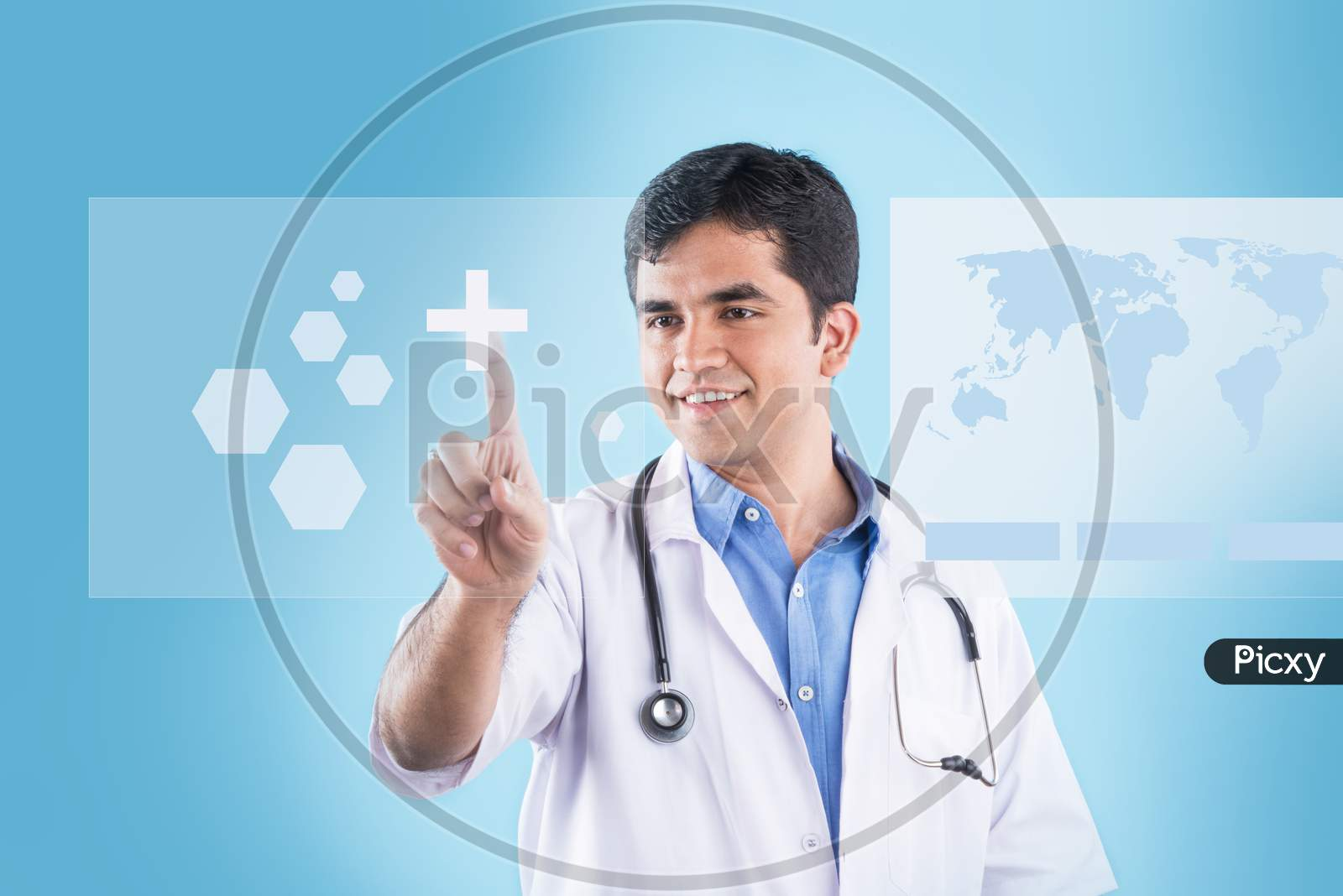Indian male doctor touching virtual screen