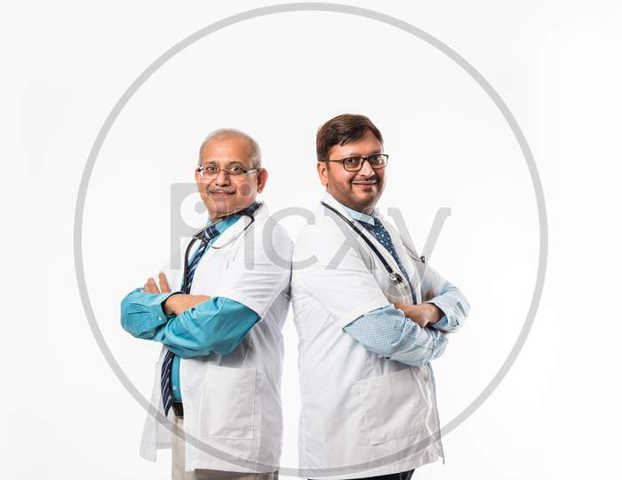 2 male doctors or medical professionals