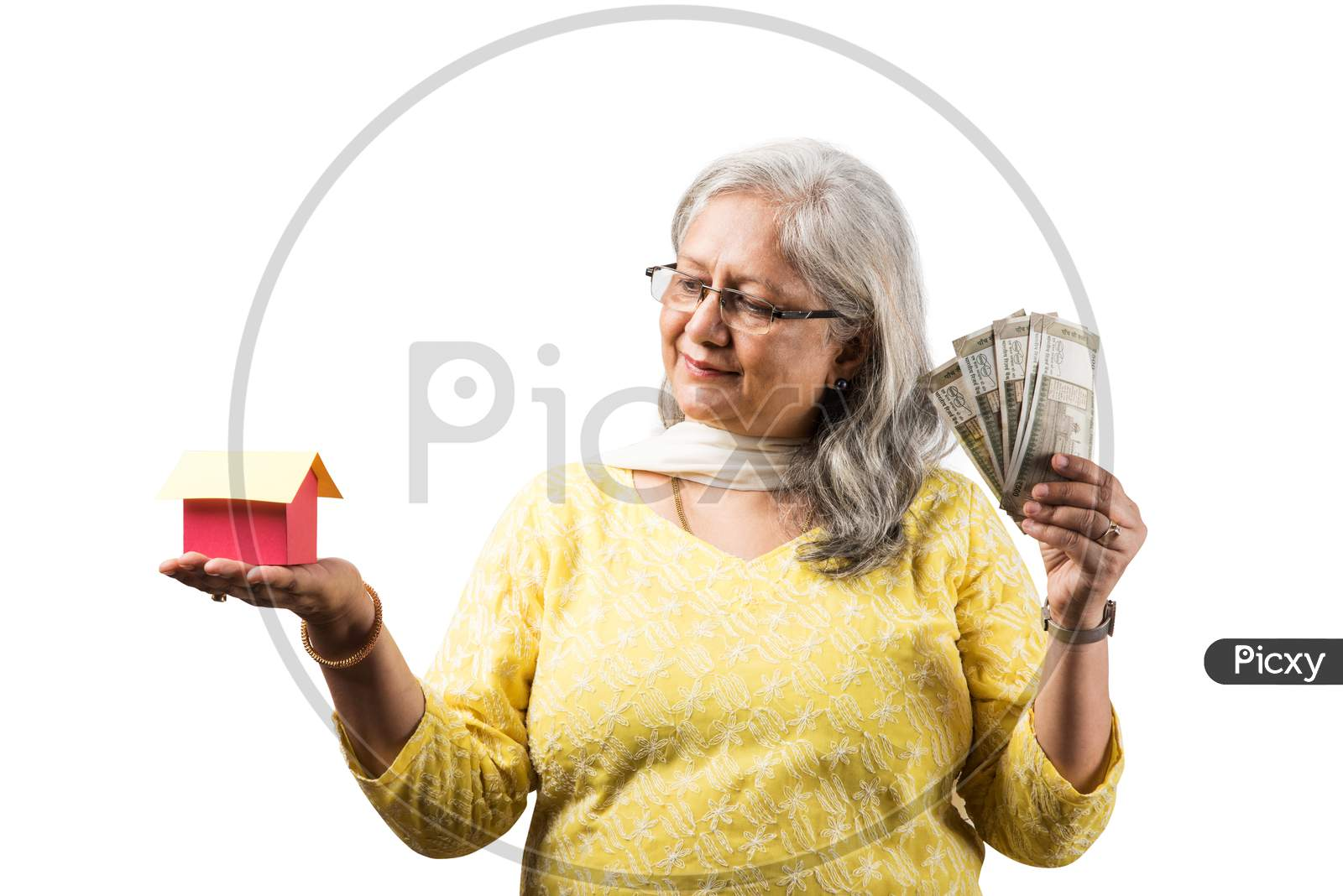 Senior woman and real estate concept with money