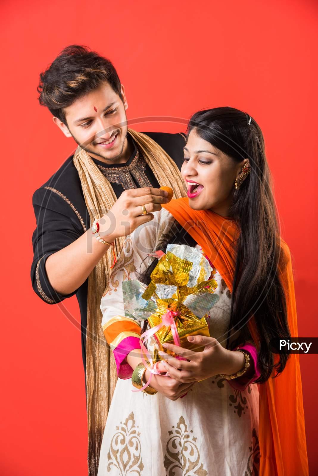 Indian young Brother and sister together Rakshabandhan Or Rakhi festival