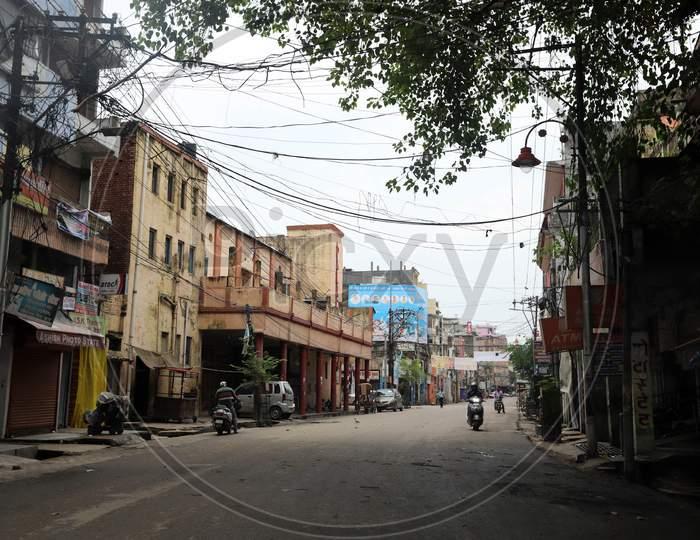 Markets are closed during lockdown to slow the spread of coronavirus in Prayagraj, Uttar Pradesh on July 12, 2020