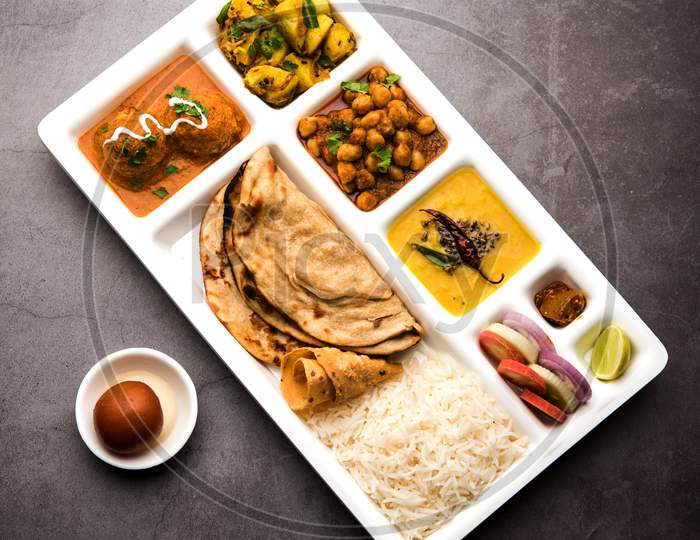 Indian vegetarian Food Thali or Parcel food-tray