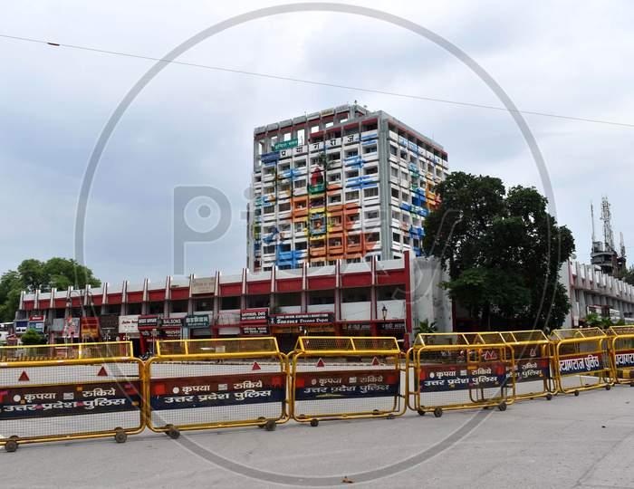 Markets are closed during the lockdown to spread the control of Coronavirus in Prayagraj, Uttar Pradesh on July 12, 2020