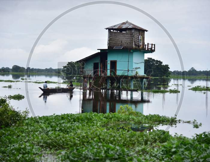 A submerged watchtower stands in Kaziranga National Park in Nagaon which got flooded due to the recent rains in Nagaon, Assam on July 12, 2020