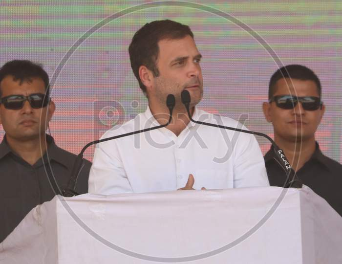 Rahul Gandhi, President of Indian National Congress(INC) delivers a speech during an election campaign rally in Ajmer, Rajasthan on April 25, 2019