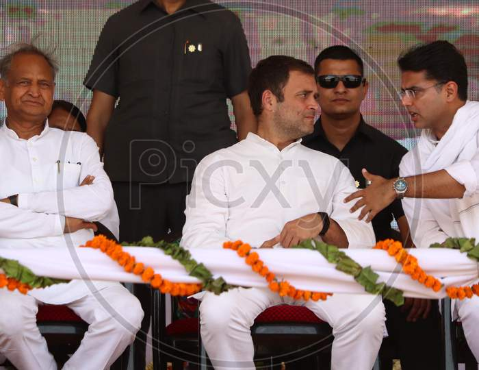 Rahul Gandhi, President of Indian National Congress(INC) with Ashok Gehlot, Chief Minister of Rajasthan and Sachin Pilot, Deputy Chief Minister of Rajasthan during an election campaign in a village near Ajmer, Rajasthan on April 25, 2019