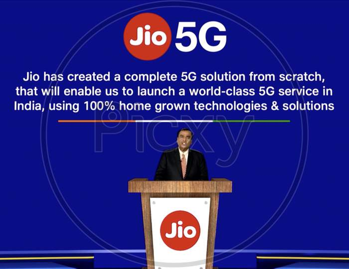 Mukesh Ambani announces Made in India Jio 5G technology in live at Reliance Annual General Meeting for shareholders.