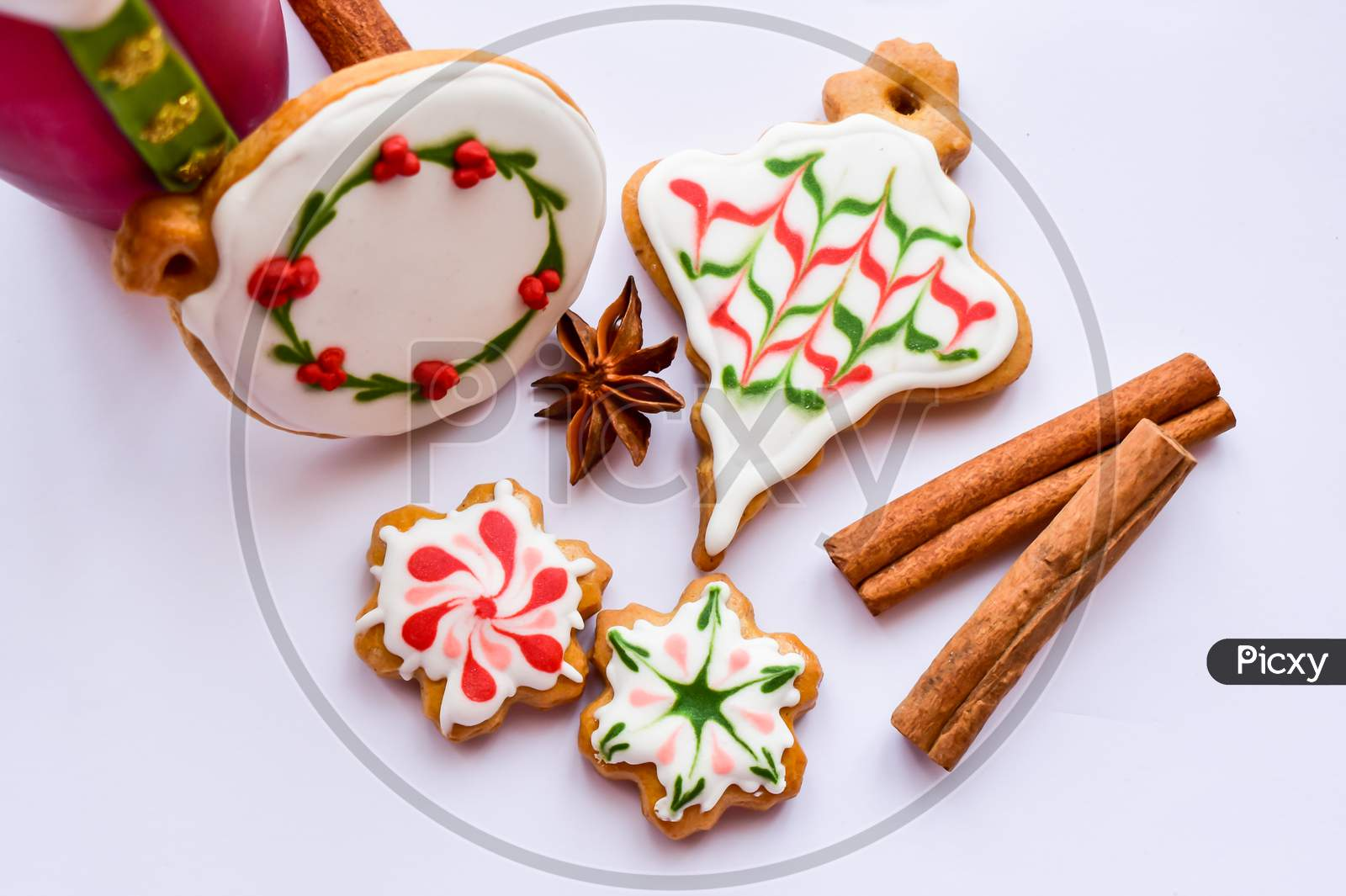 Traditionally Decorated Christmas Ornament Gingerbread Cookies Background