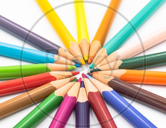 Color Pencils Isolated On White Background In A Circle