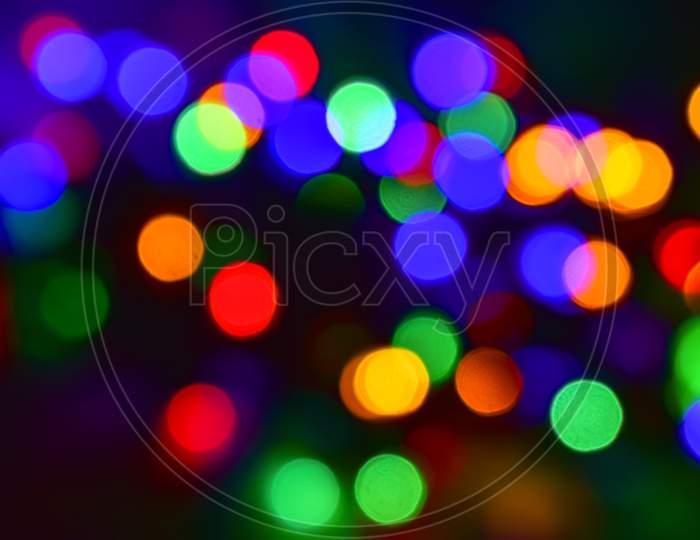 Colorful Christmas Lights Bokeh Abstract Background