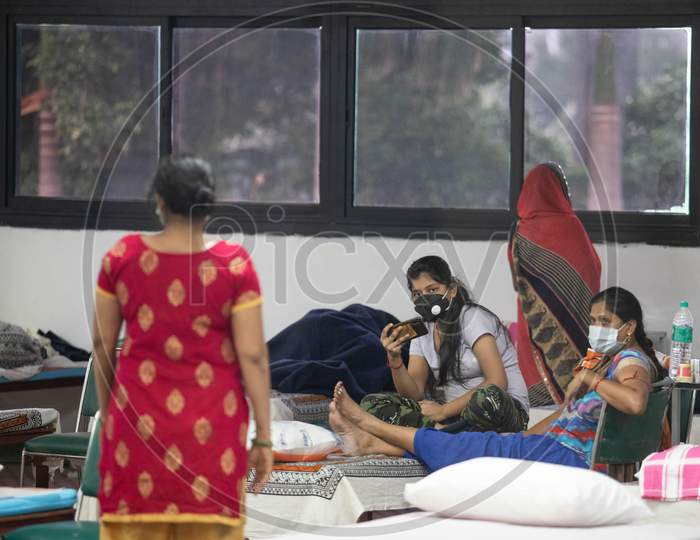 Covid-19 positive patients at an isolation ward at the Common Wealth Games stadium which has been converted into a Coronavirus Care Centre in New Delhi on July 17, 2020