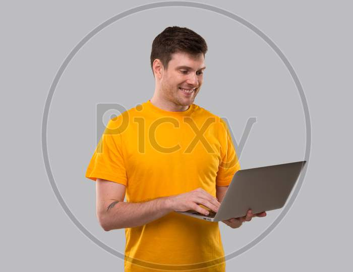 Man Using Laptop Shopping Online. Quarantine Delivery Order. Freelance Working Online.