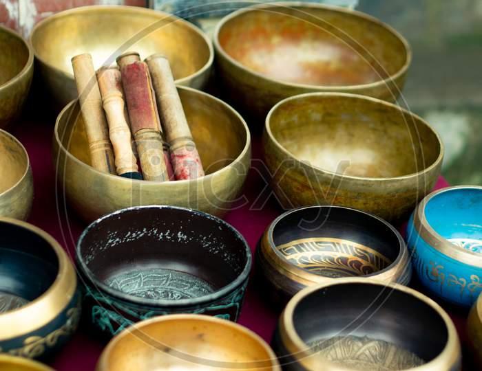 Brass Singing Musical Bowls Placed In A Shop In Mcleodganj Himachal Pradesh